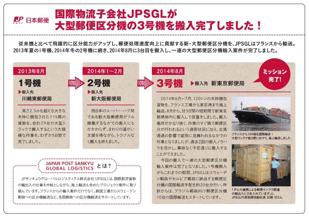 日本郵便株式会社納め大型郵便区分機の国際物流を受注